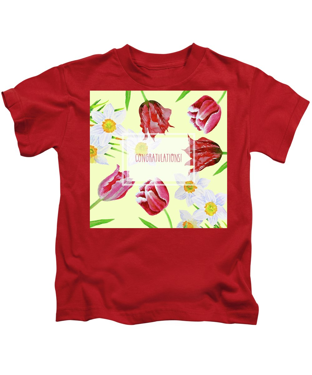 Bouquet Kids T-Shirt featuring the digital art Card With Spring Flowers by Natalia Piacheva