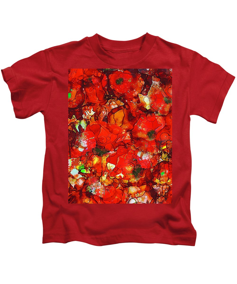 Abstract Kids T-Shirt featuring the painting Poppies by Klara Acel