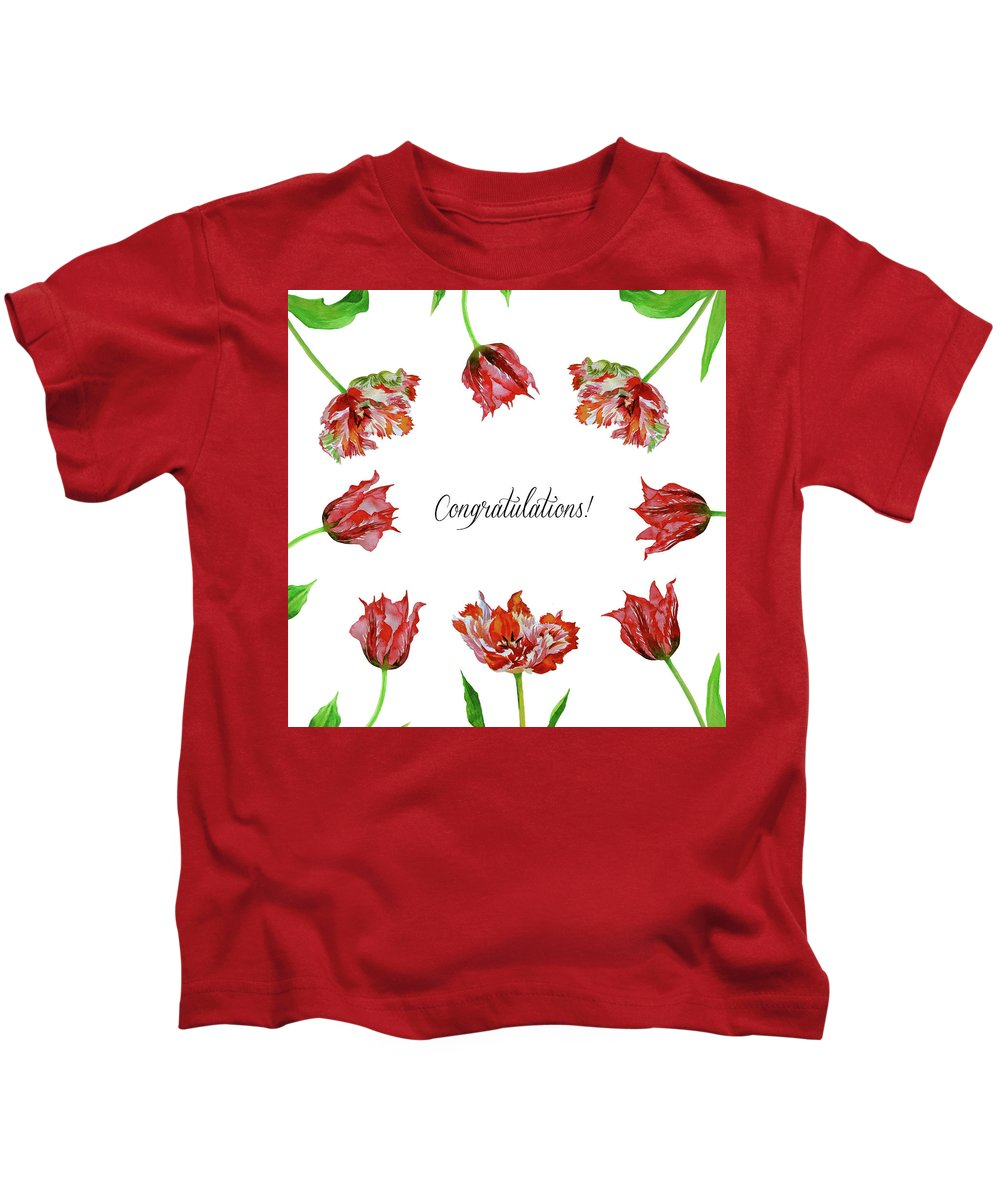 Bouquet Kids T-Shirt featuring the digital art Red Tulips by Natalia Piacheva