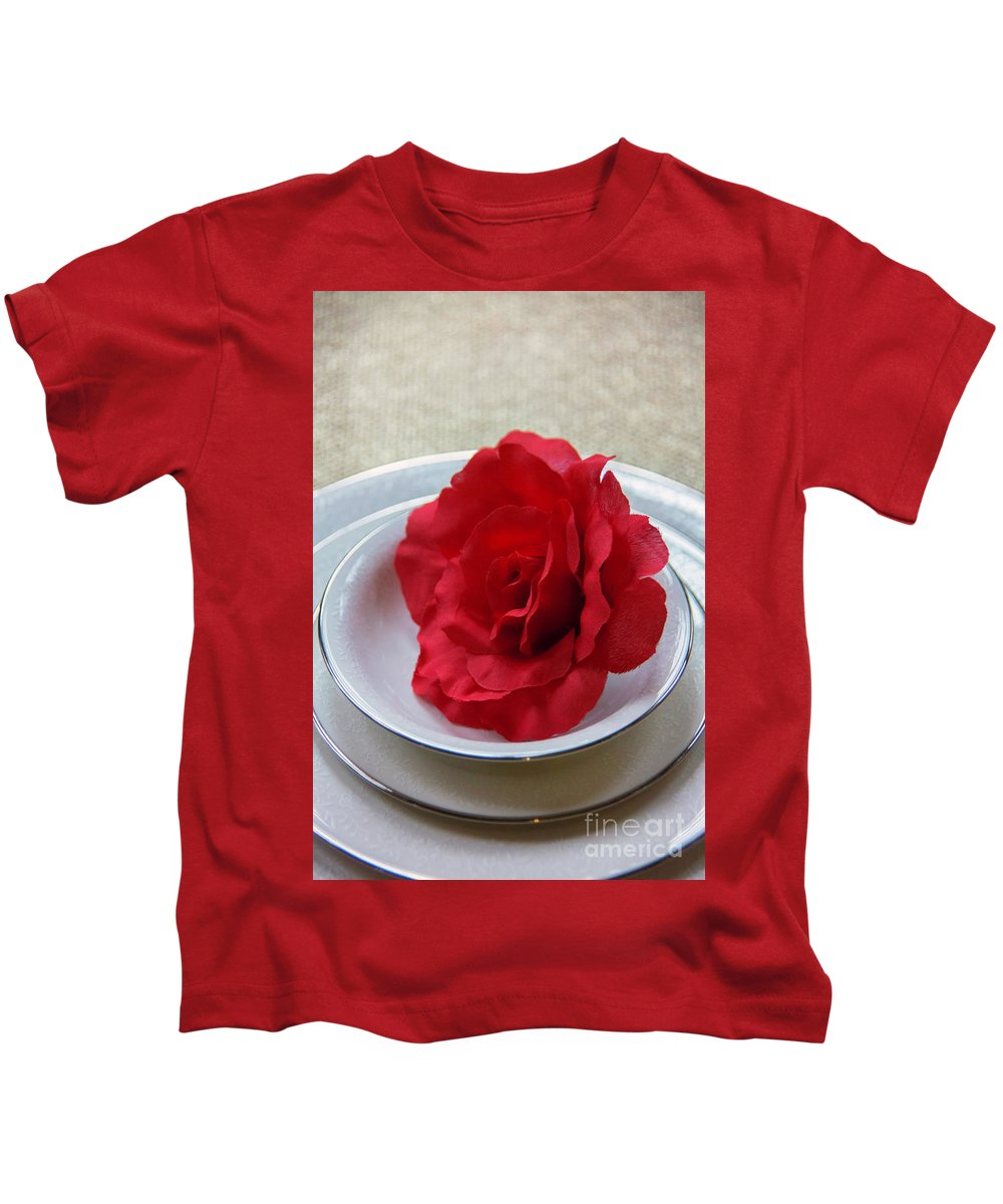 Dishes Kids T-Shirt featuring the photograph The Rose by Carolyn Fox