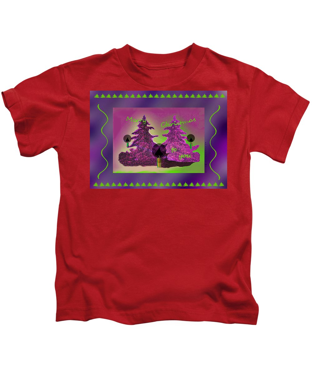 2608 Merry Christmas To You 2018 Kids T-Shirt featuring the digital art 2608 Merry Christmas To You 2018 by Irmgard Schoendorf Welch