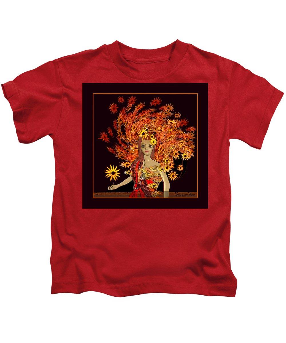 322 A Sweet Child Of Autumn V Kids T-Shirt featuring the painting  322  A Sweet Child Of Autumn V by Irmgard Schoendorf Welch