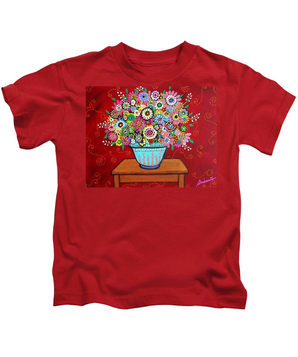 Flower Kids T-Shirt featuring the painting Blooms by Pristine Cartera Turkus