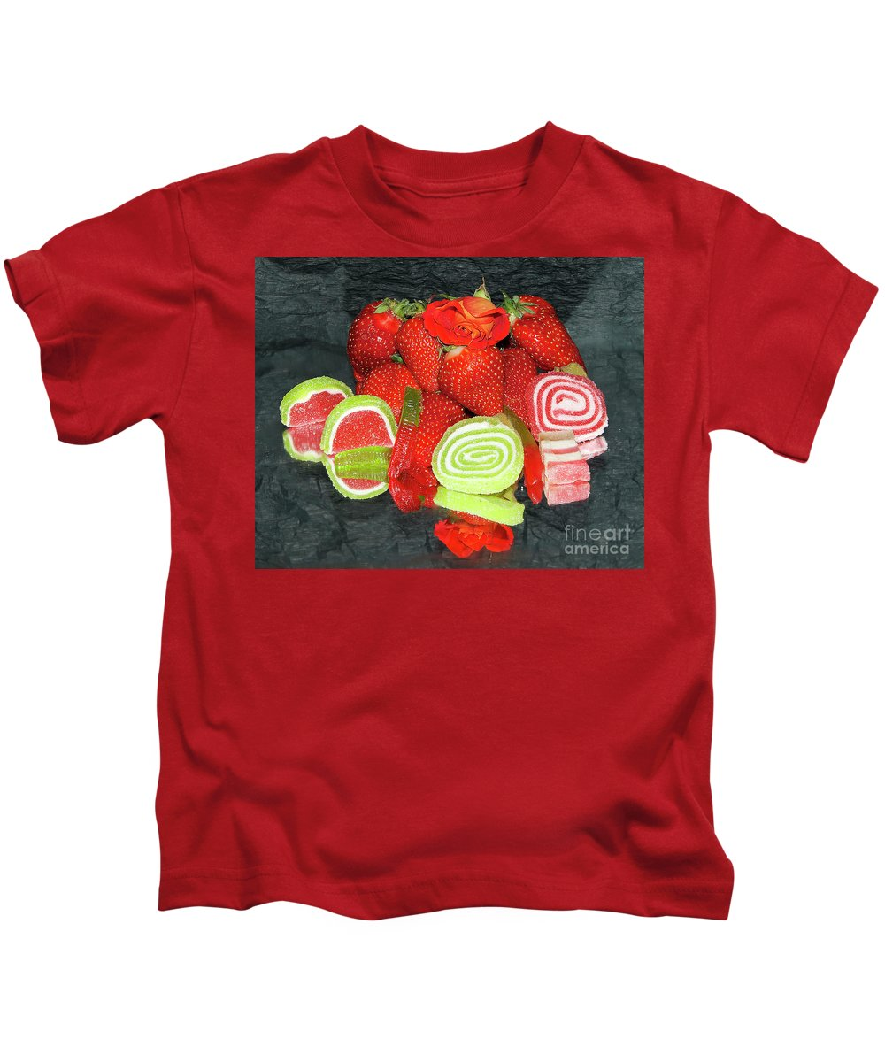 Fruits Kids T-Shirt featuring the photograph Fruits With Candys by Elvira Ladocki