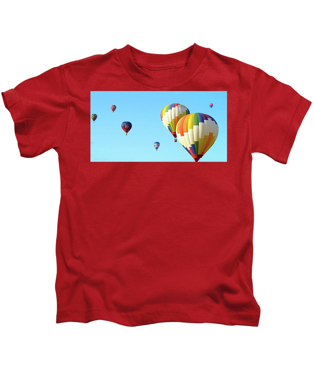 Balloons Kids T-Shirt featuring the photograph 7 Balloons by Linda Cupps