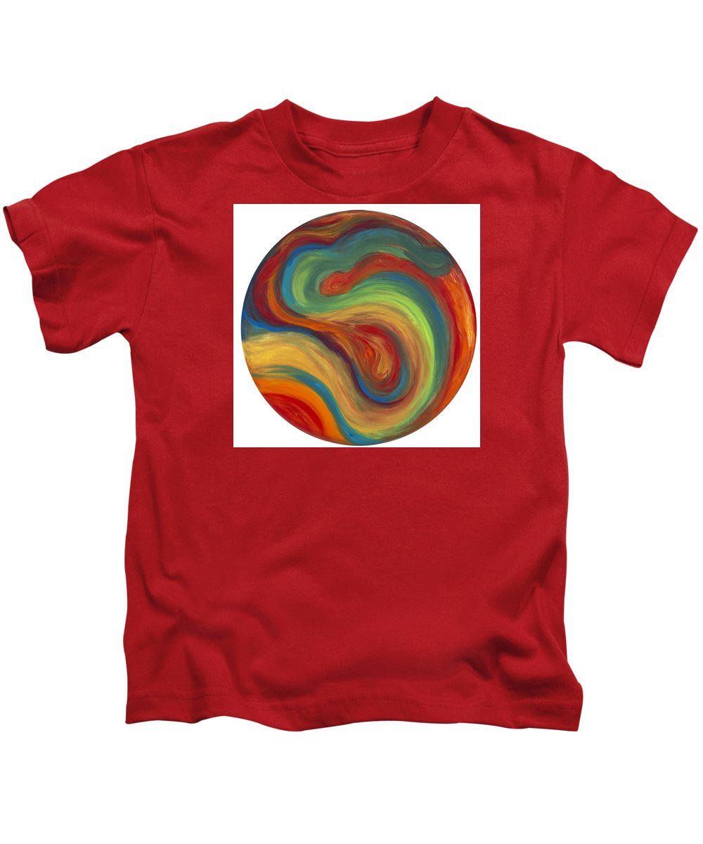 Acrylic Abstract Canvas Kids T-Shirt featuring the painting 70s Influence by Patty Vicknair