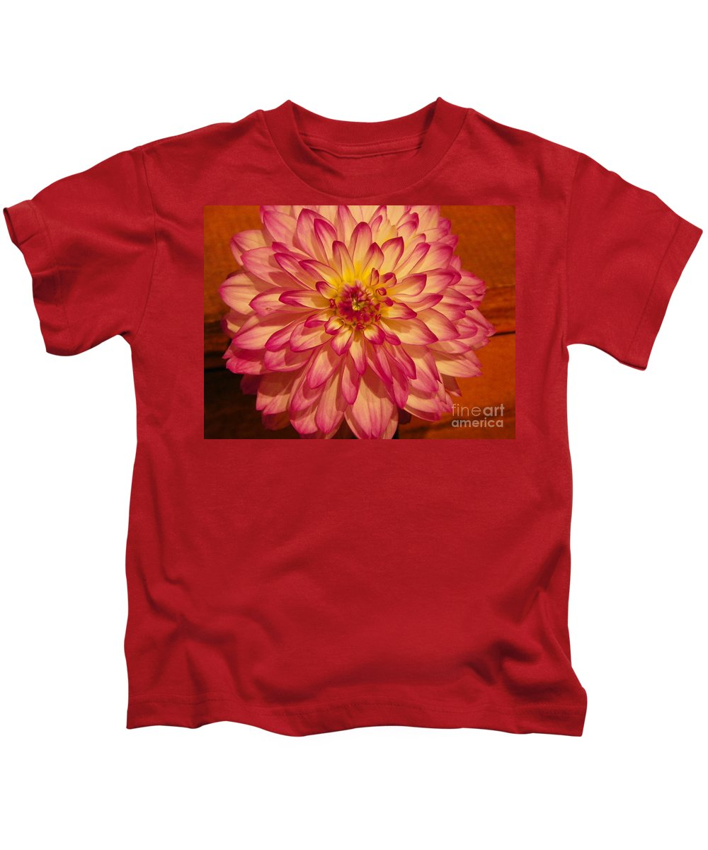 #928 D855 Dahlia Close Up Awesome Kids T-Shirt featuring the photograph #928 D855 Dahlia Close Up by Robin Lee Mccarthy Photography