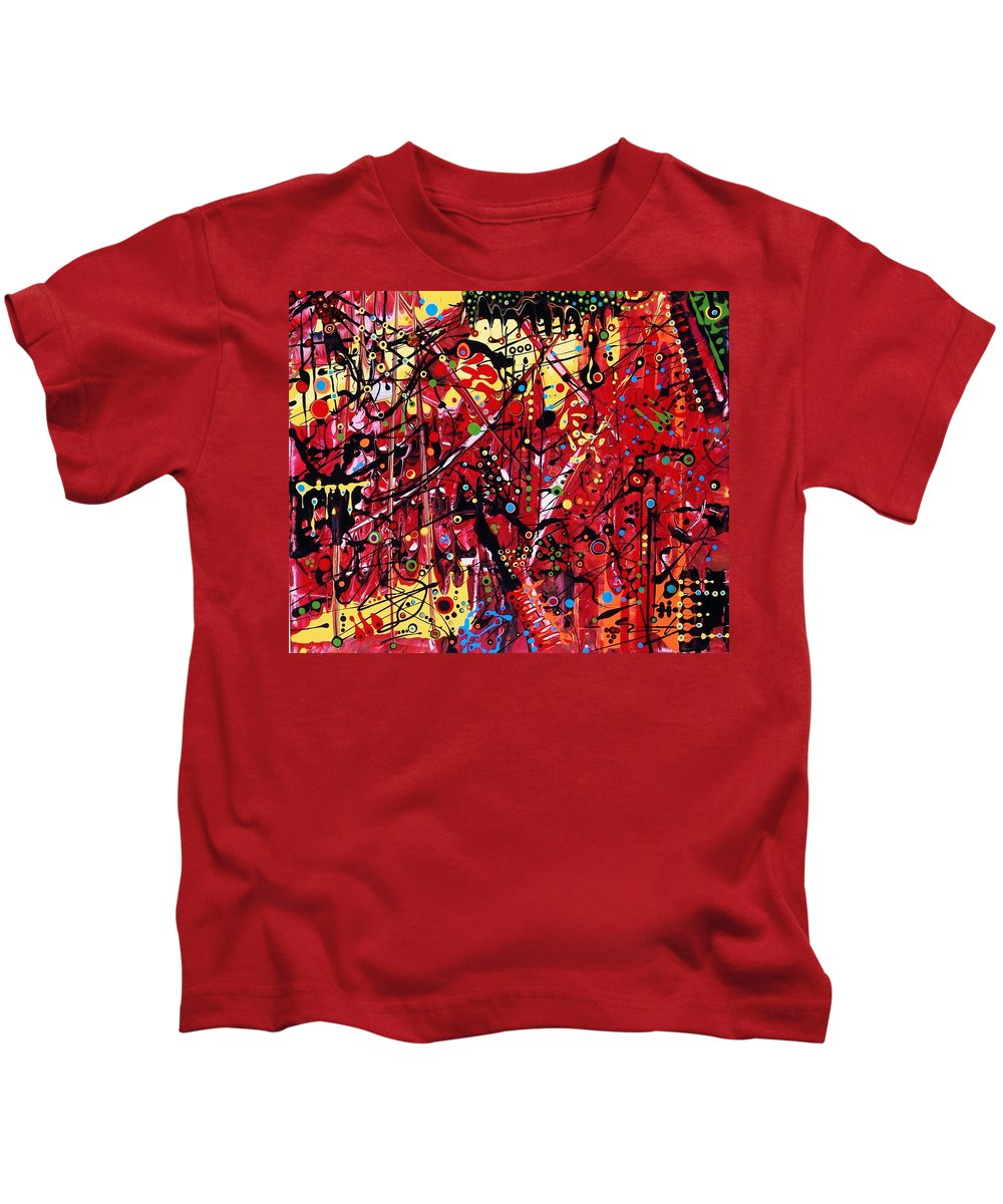 Abstract Kids T-Shirt featuring the painting Is A Black Cloud Coming This Way by Charlotte Nunn