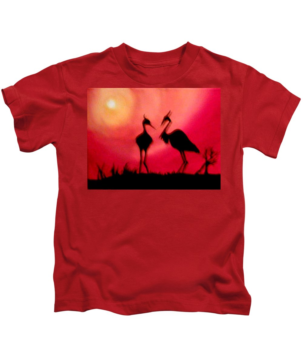 Swans Kids T-Shirt featuring the painting A Conversation by Glory Fraulein Wolfe