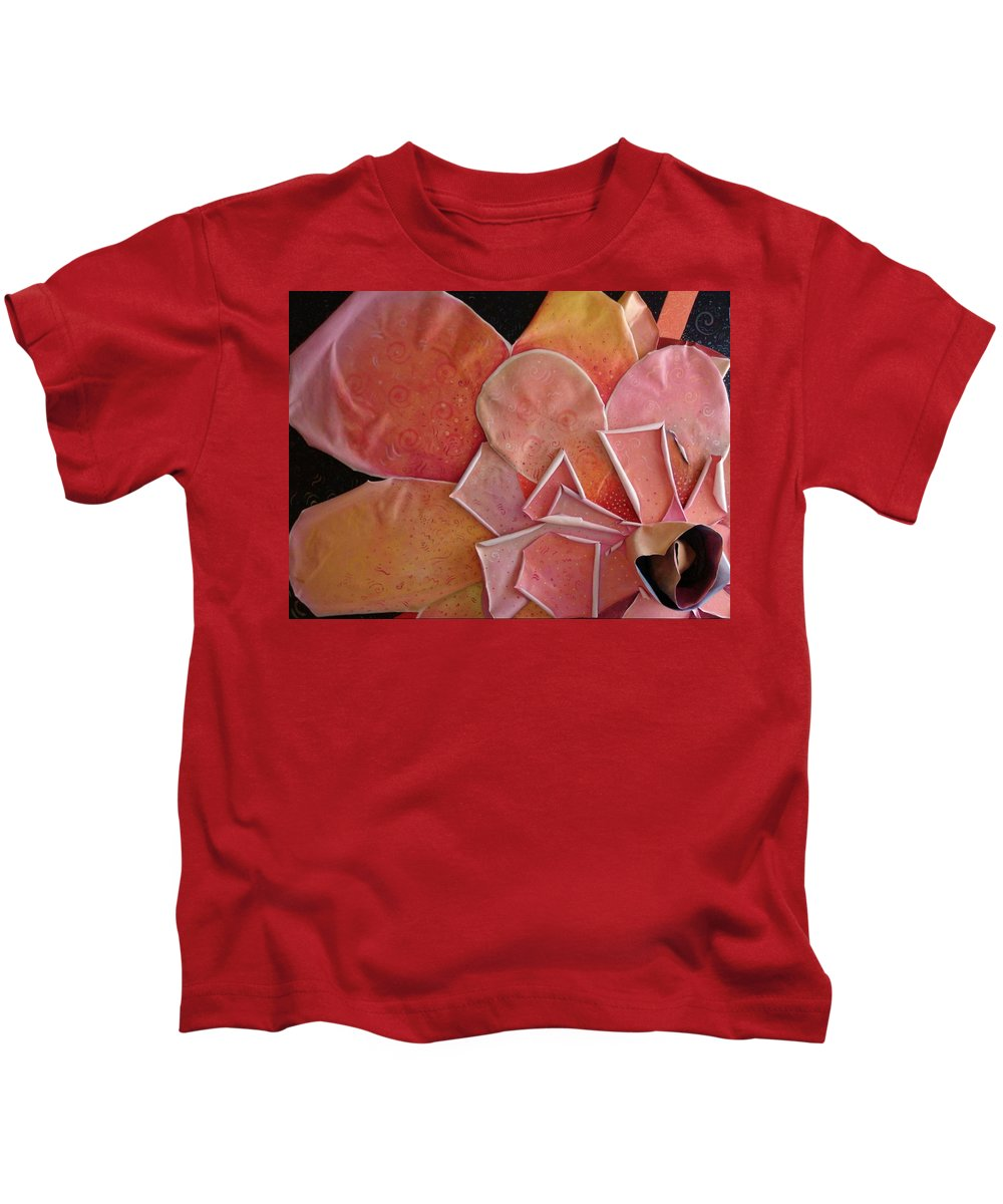 Sculptural Kids T-Shirt featuring the painting A Pink Experience by Helena Tiainen