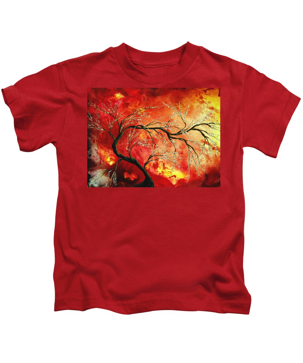 Abstract Kids T-Shirt featuring the painting Abstract Art Floral Tree Landscape Painting Fresh Blossoms By Madart by Megan Duncanson