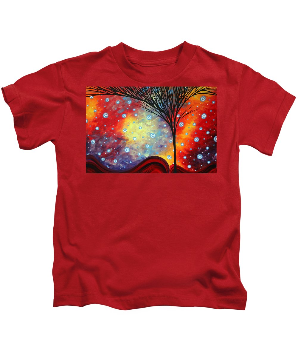 Abstract Kids T-Shirt featuring the painting Abstract Art Whimsical Landscape Painting Morning Bliss By Madart by Megan Duncanson