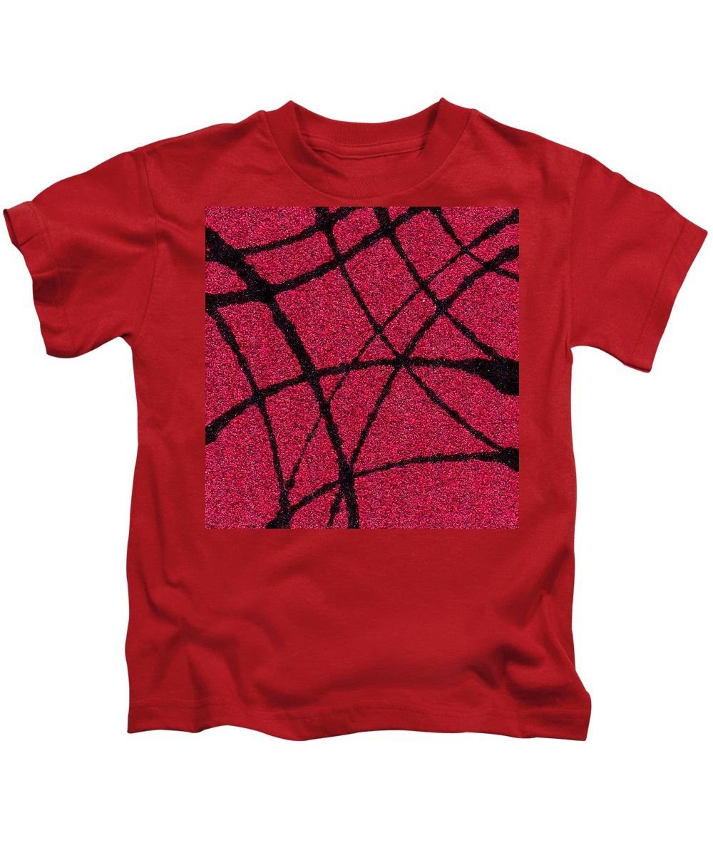 Abstract Kids T-Shirt featuring the painting Abstract In Red And Black by Wayne Potrafka