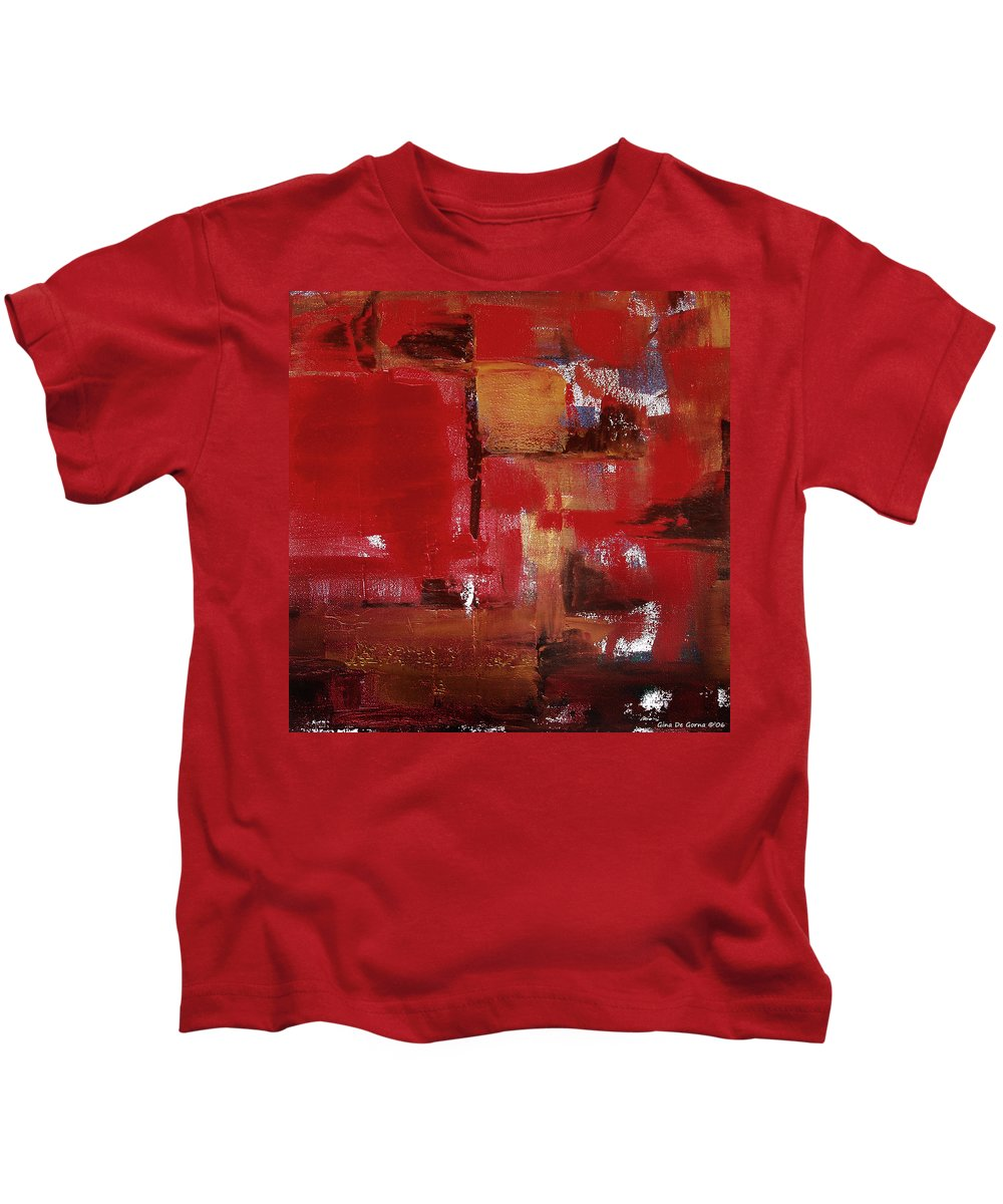 Abstract Kids T-Shirt featuring the painting Abstract In Red by Gina De Gorna