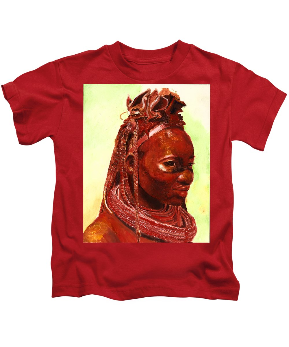 People Portrait Kids T-Shirt featuring the painting African Beauty by Portraits By NC