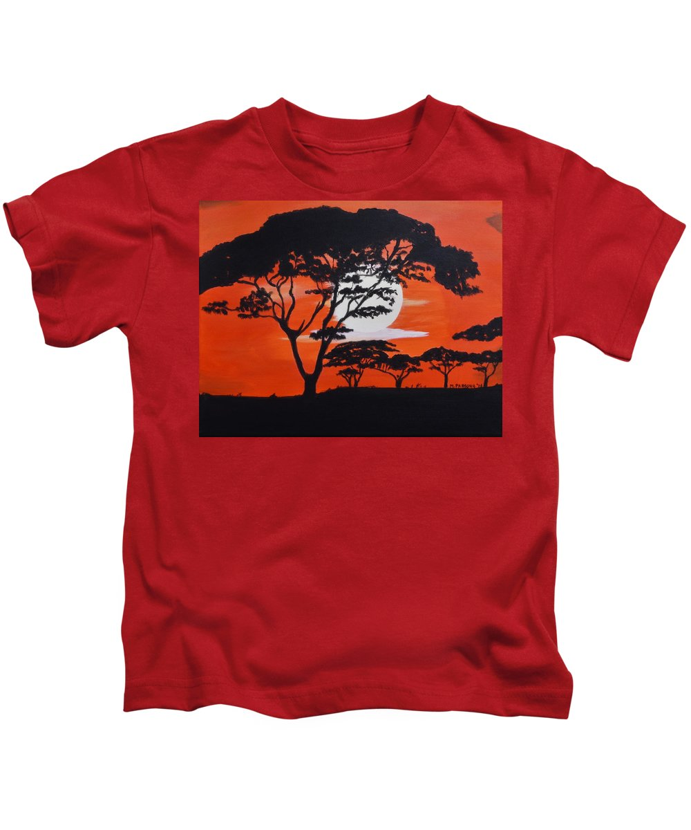 Orange. Sunset Kids T-Shirt featuring the painting African Heat by Mike Parsons