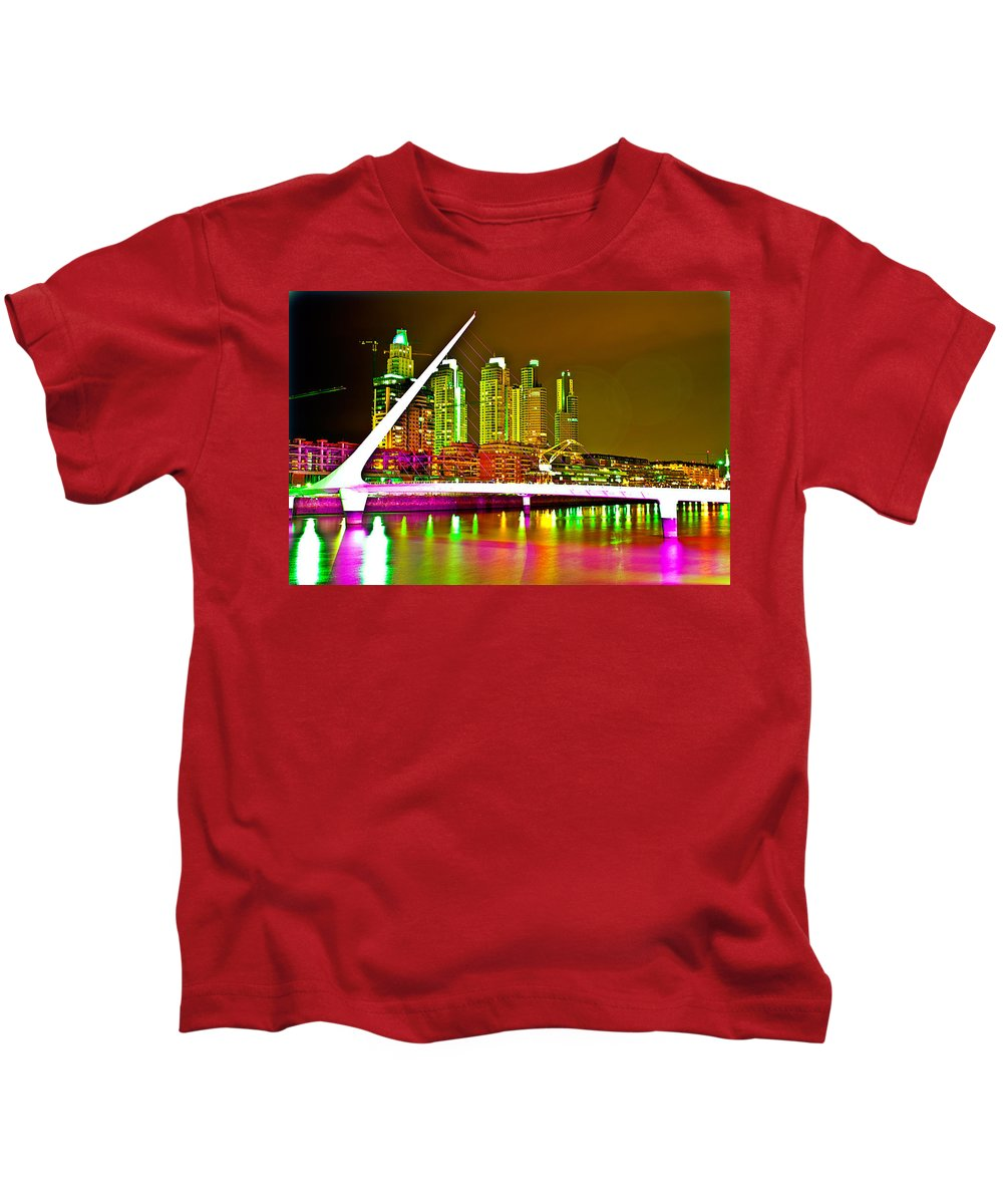 Buenos Kids T-Shirt featuring the photograph All Night Puerto Madero by Francisco Colon