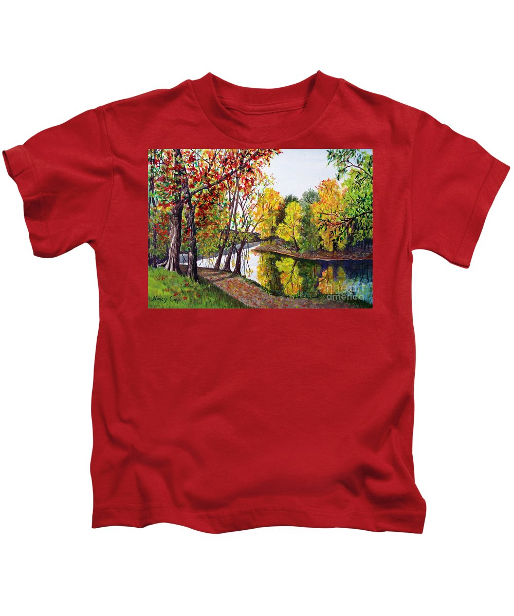 Blanchard River Kids T-Shirt featuring the painting Along The Blanchard by Nancy Cupp