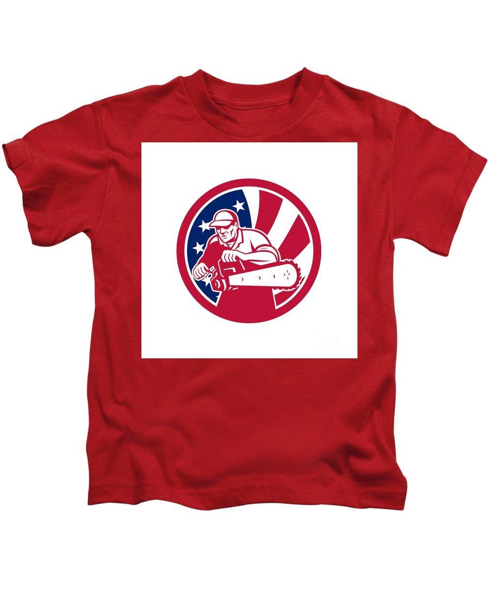 Icon Kids T-Shirt featuring the digital art American Lumberjack Usa Flag Icon by Aloysius Patrimonio