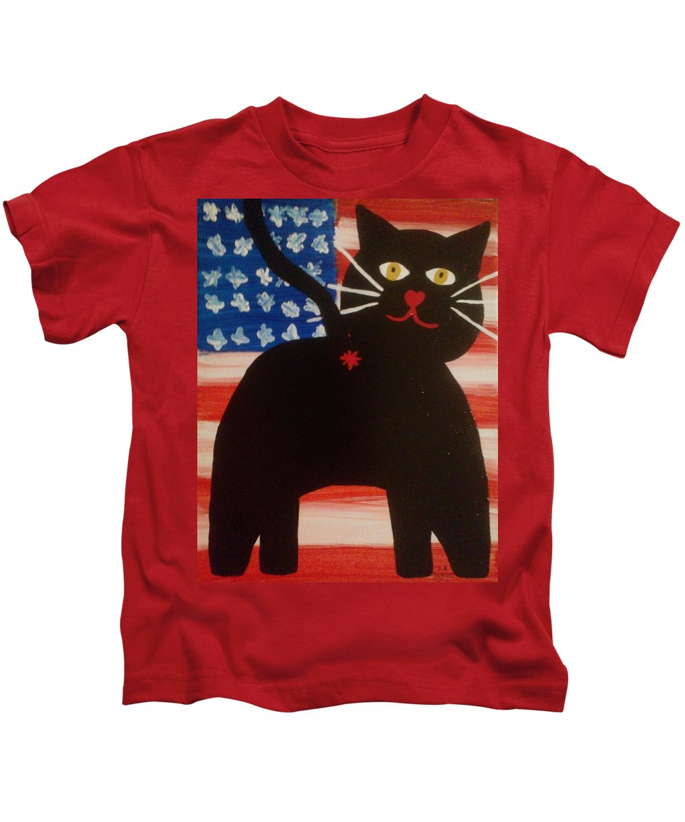 Cat Butts Kids T-Shirt featuring the painting Americat Cat Butt by Deborah Martin