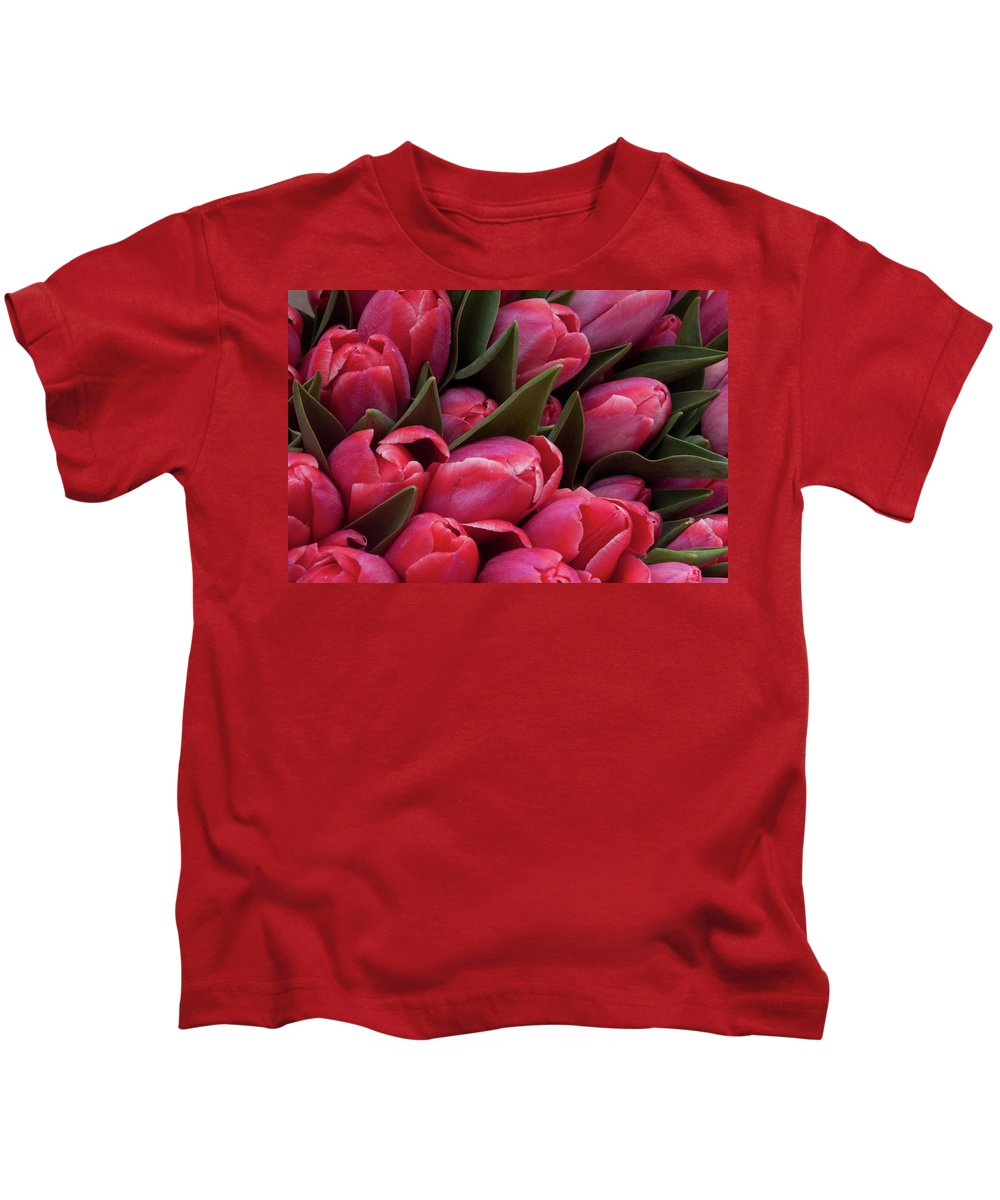 Amsterdam Kids T-Shirt featuring the photograph Amsterdam Red Tulips by Jill Smith