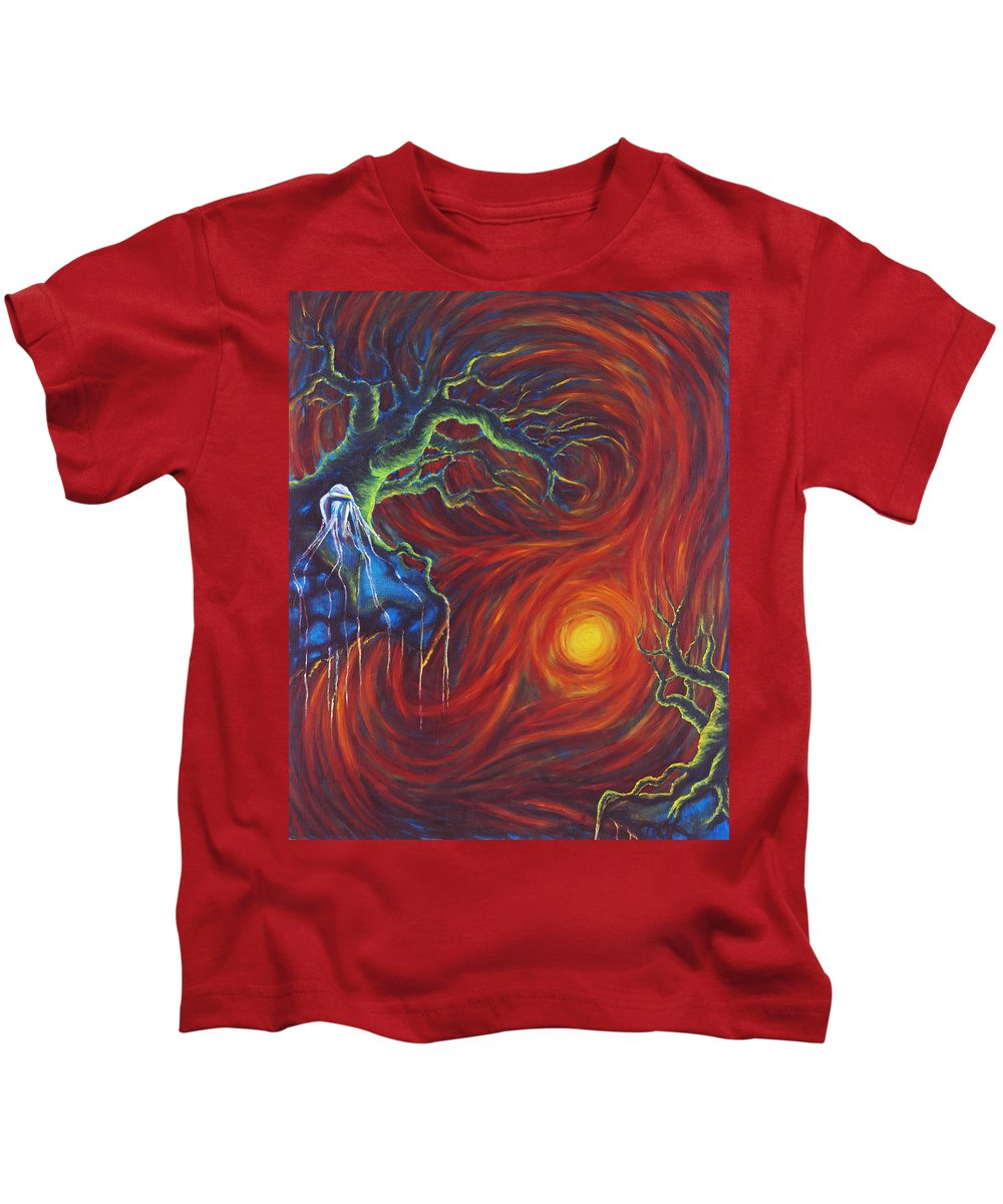 Tree Paintings Kids T-Shirt featuring the painting Anxiety by Jennifer McDuffie