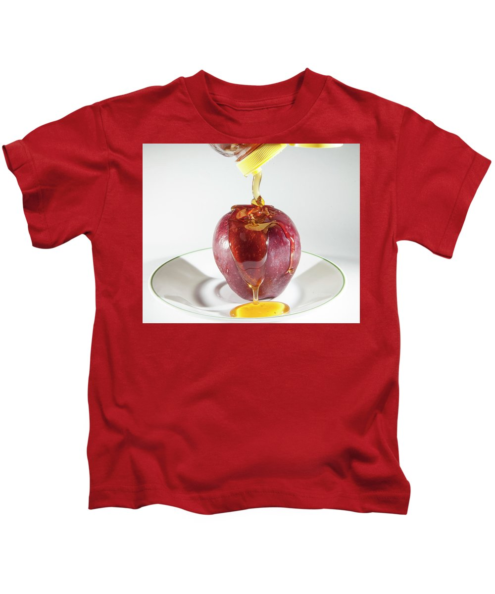 Apple Kids T-Shirt featuring the photograph Apple And Honey by Mason Resnick