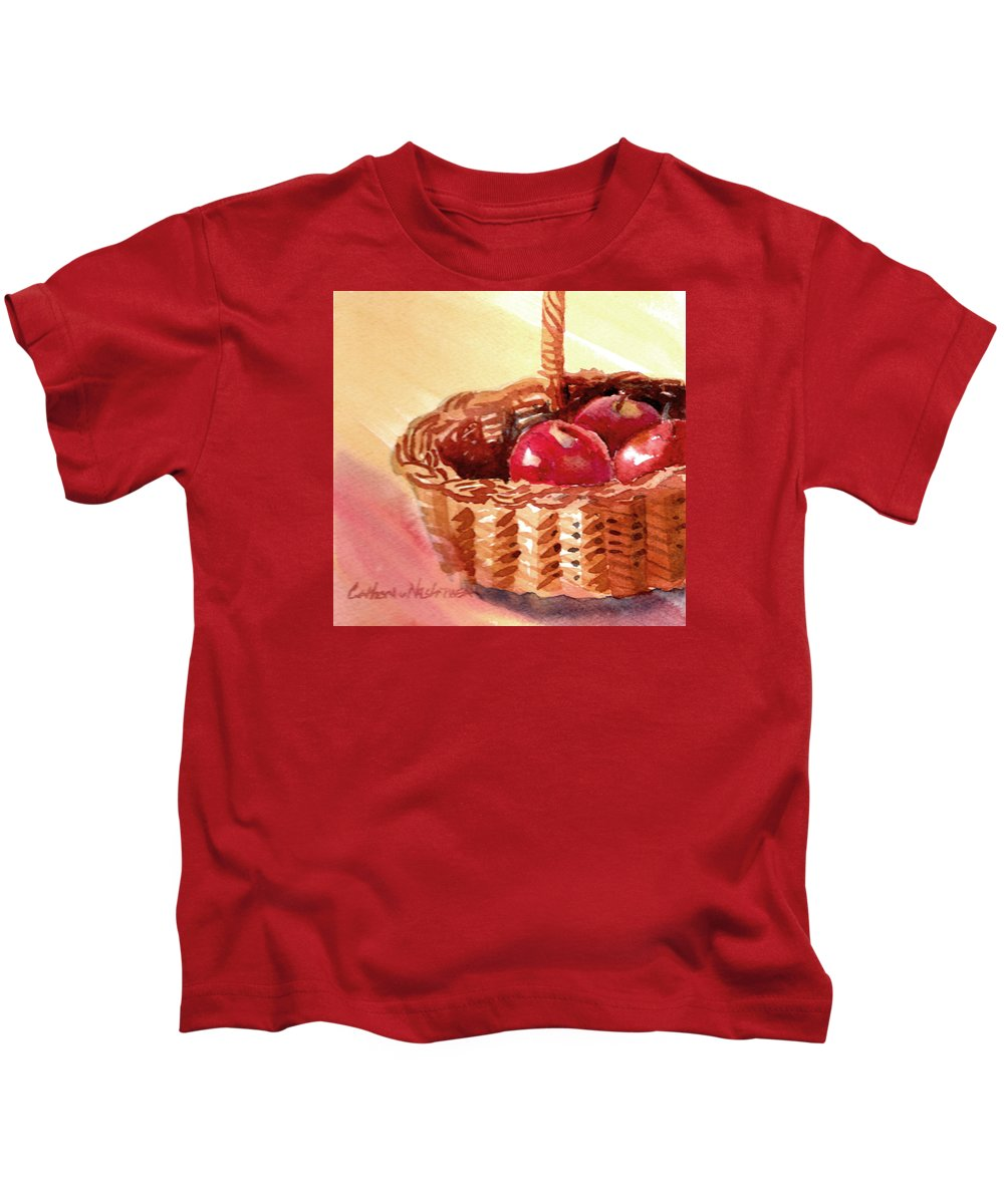 Basket Kids T-Shirt featuring the painting Apple Basket by Catherine Nash