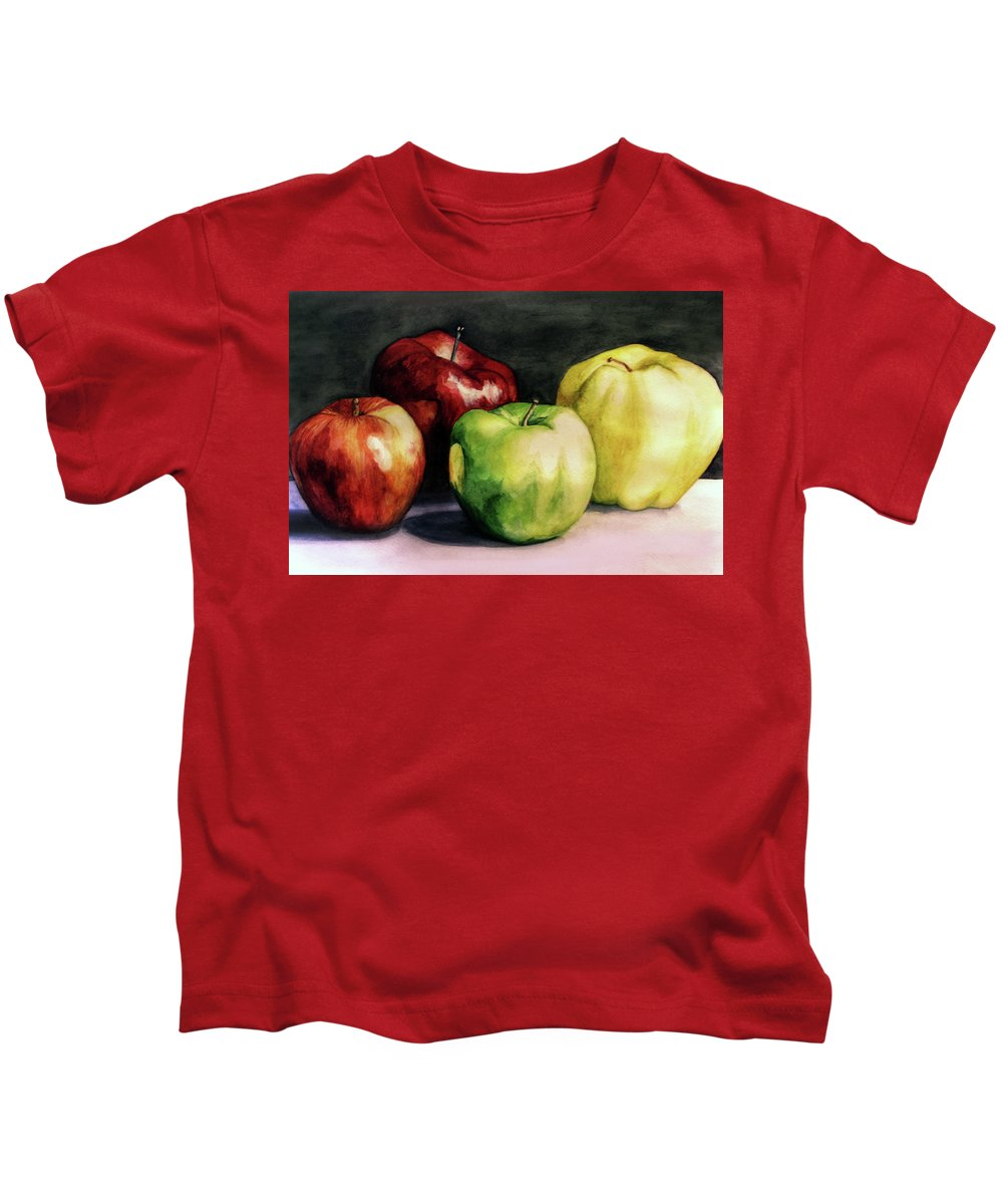 Kids T-Shirt featuring the painting Apples by Valentina Blinkova