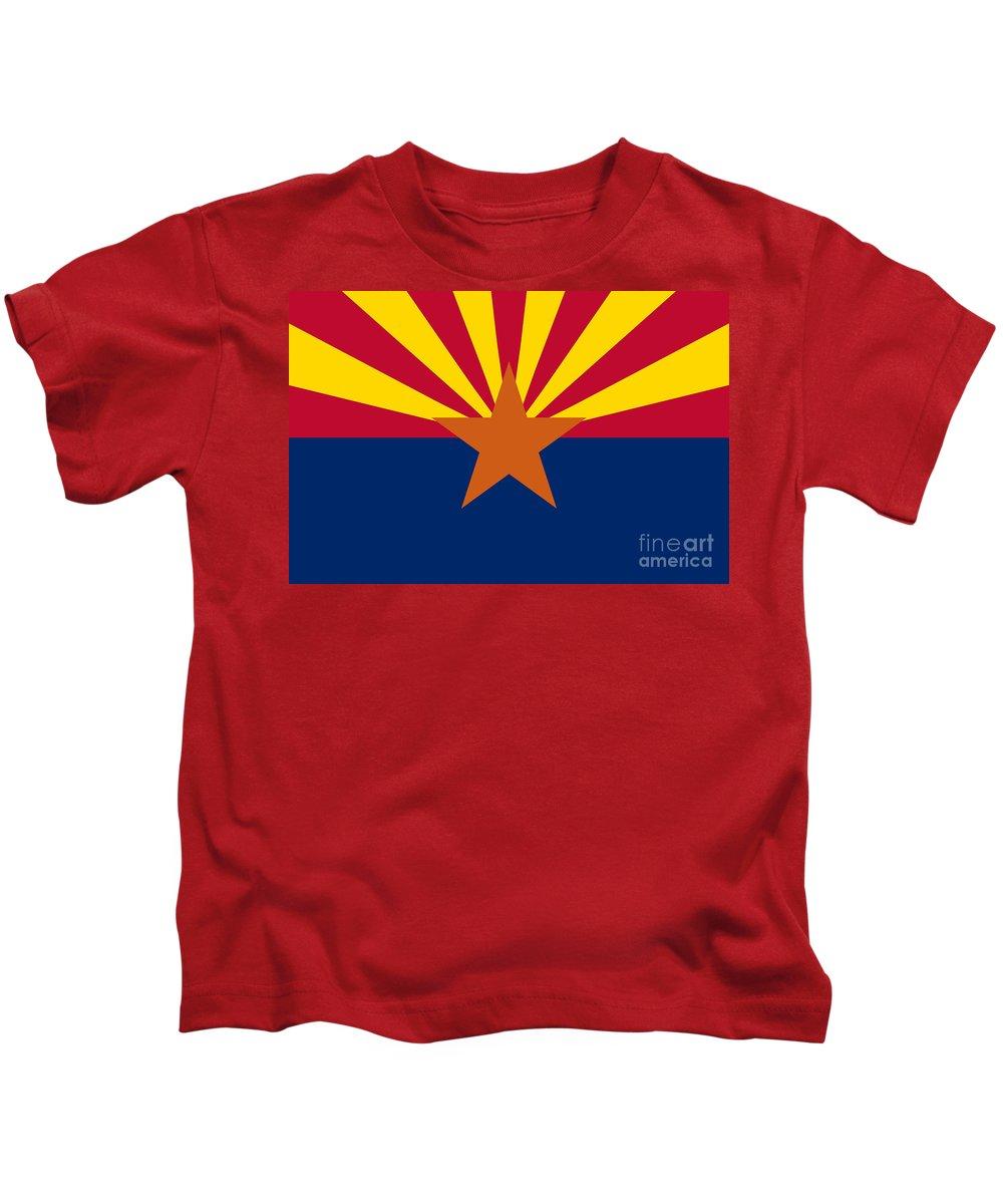 Arizona Flag Kids T-Shirt featuring the digital art Arizona Flag Art by Anne Kitzman