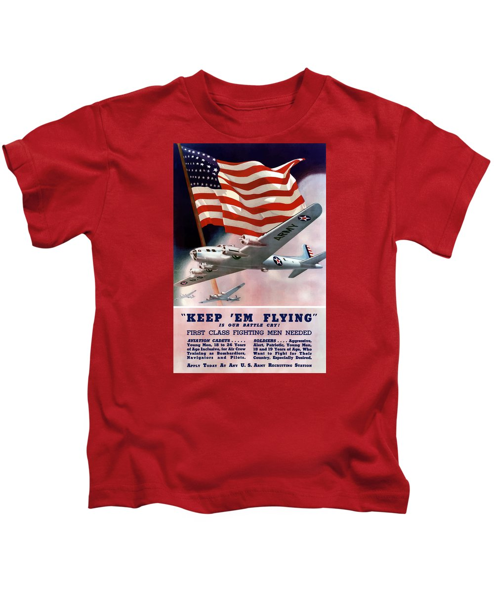 Army Kids T-Shirt featuring the painting Army Air Corps Recruiting Poster by War Is Hell Store