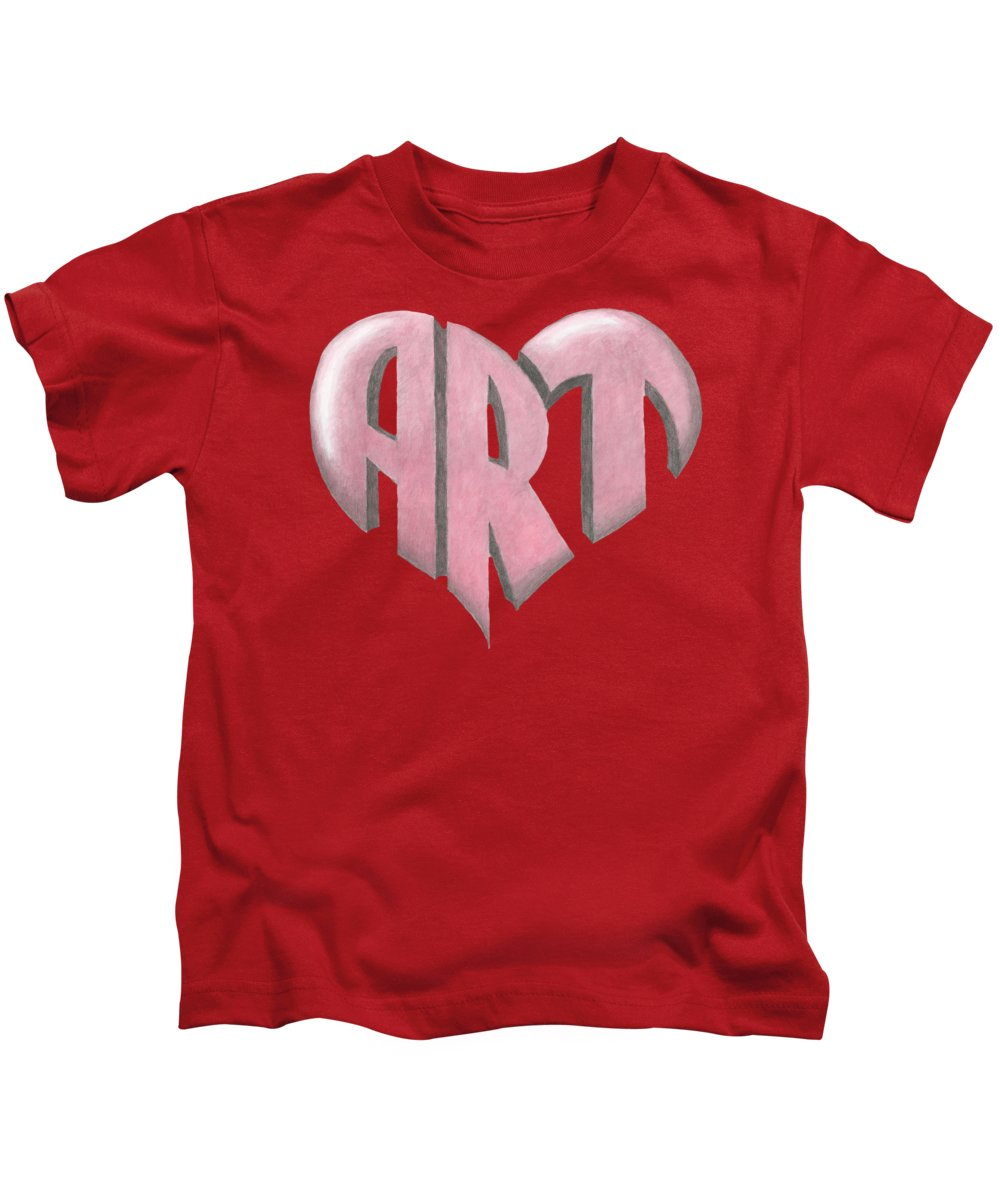 Art Kids T-Shirt featuring the painting Art Heart by Dominic White