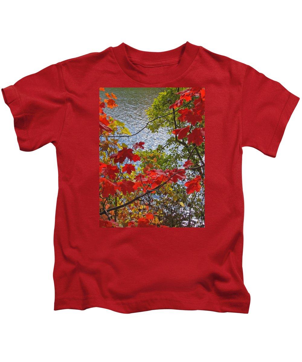 Autumn Kids T-Shirt featuring the photograph Autumn Lake by Ann Horn