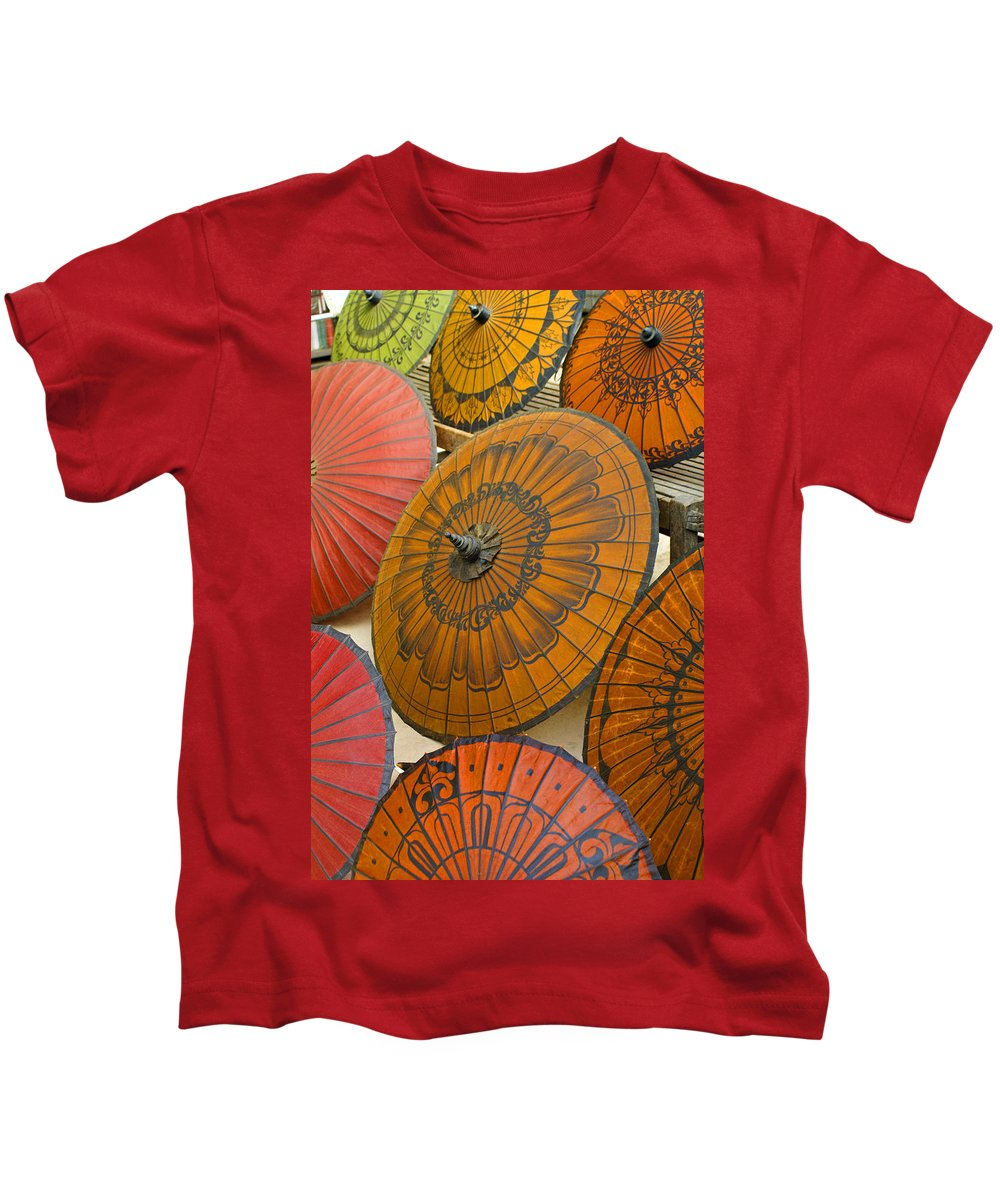 Oriental Kids T-Shirt featuring the photograph Asian Umbrellas by Michele Burgess