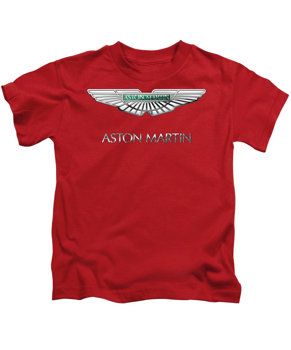 Wheels Of Fortune� Collection By Serge Averbukh Kids T-Shirt featuring the photograph Aston Martin - 3 D Badge on Red by Serge Averbukh