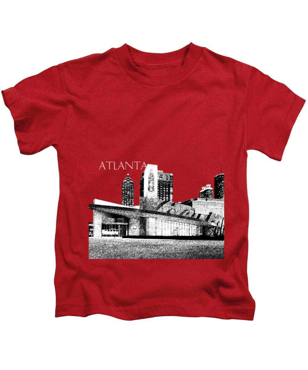 Architecture Kids T-Shirt featuring the digital art Atlanta World Of Coke Museum - Dark Red by DB Artist