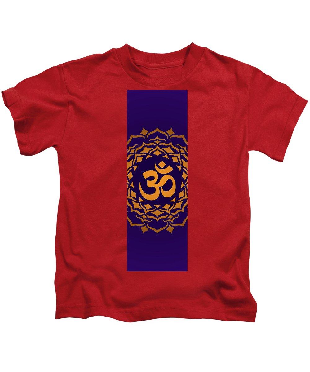 Aum Chakra Crown Yoga Meditation Kids T-Shirt featuring the digital art Aum by Ziran