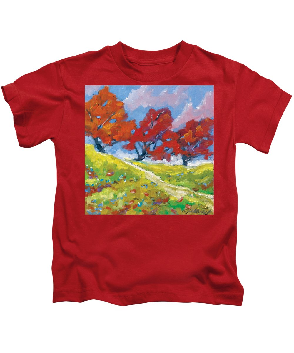 Art Kids T-Shirt featuring the painting Automn Trees by Richard T Pranke