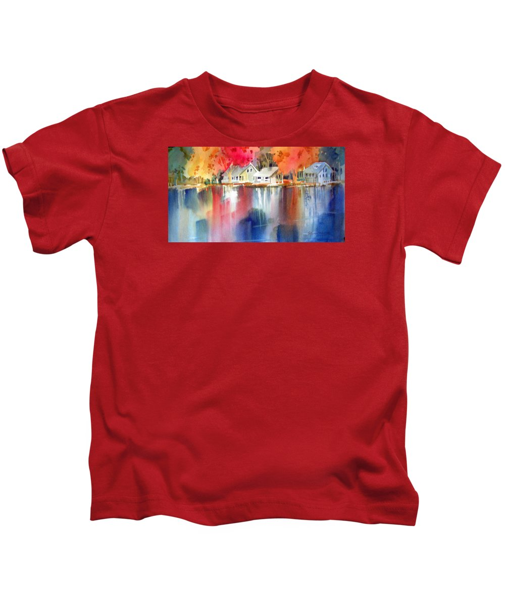 Landscape Kids T-Shirt featuring the painting Autumn, Fox River by Catherine Nash