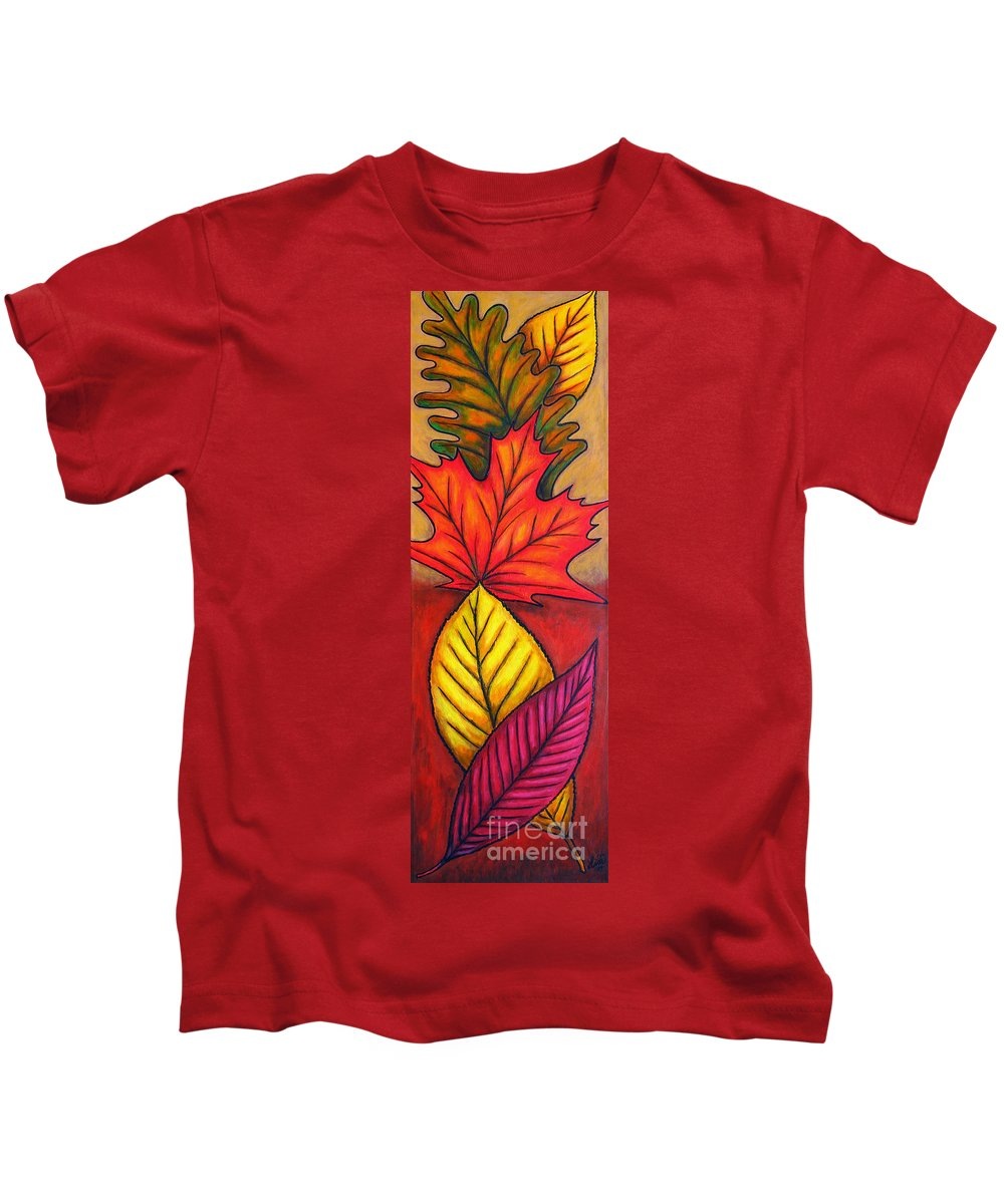 Autumn Kids T-Shirt featuring the painting Autumn Glow by Lisa Lorenz