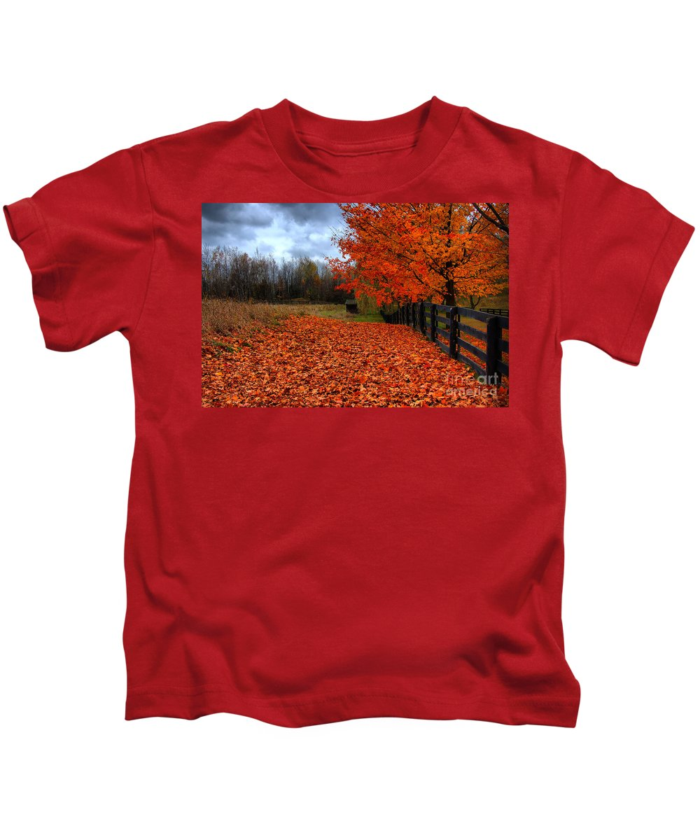 Autumn Kids T-Shirt featuring the photograph Autumn Leaves by Joe Ng