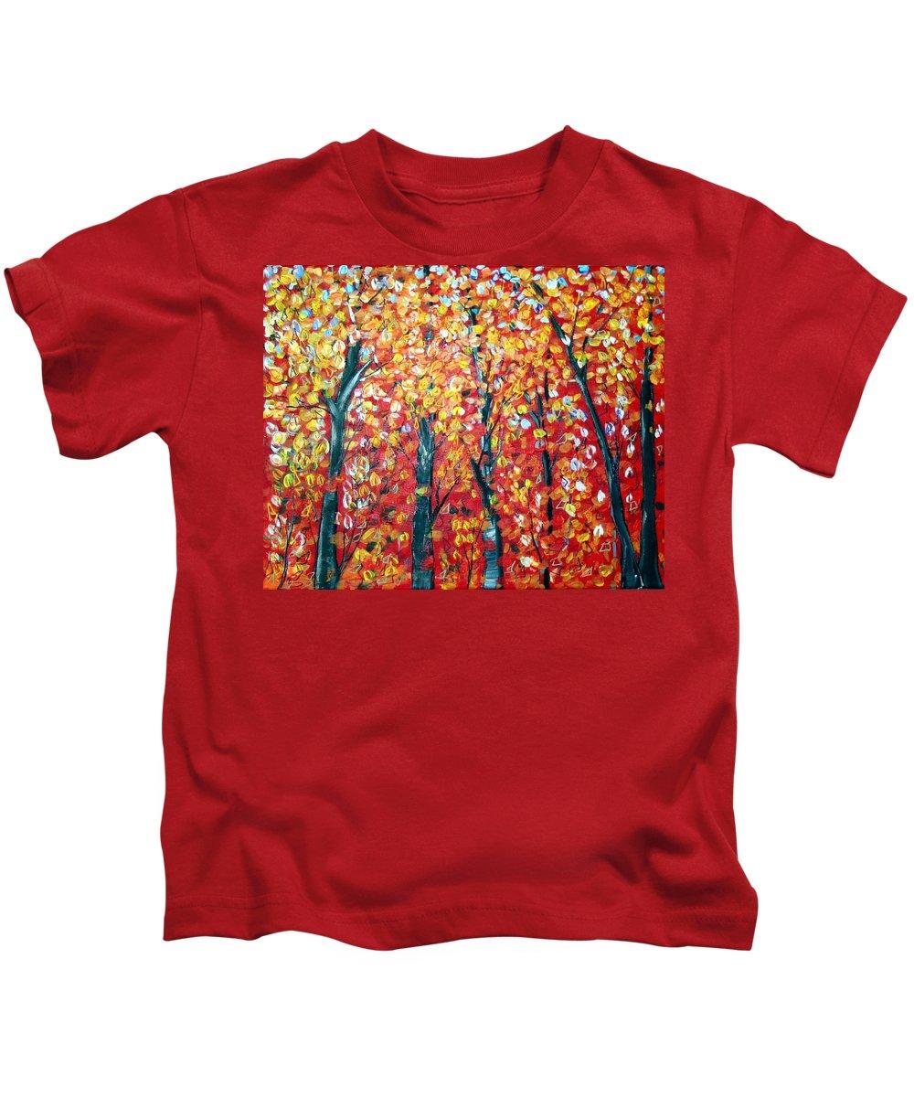 Landscape Kids T-Shirt featuring the painting Autumn by Luiza Vizoli