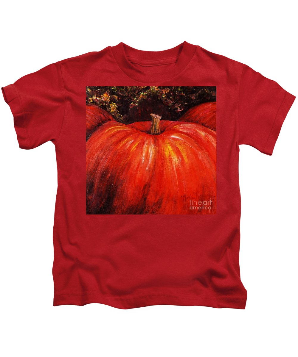 Orange Kids T-Shirt featuring the painting Autumn Pumpkins by Nadine Rippelmeyer