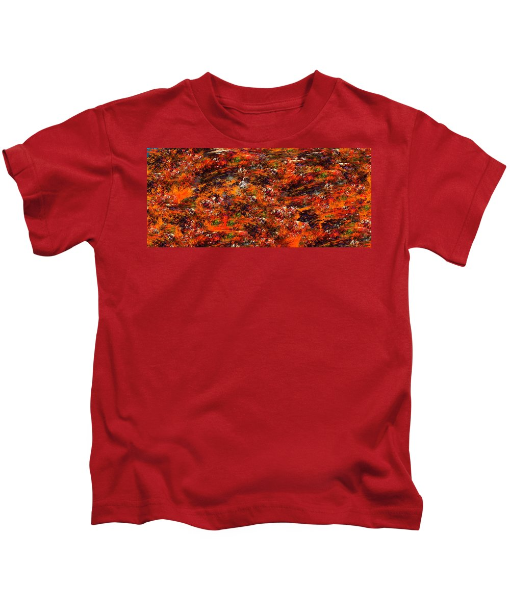 Abstract Digital Painting Kids T-Shirt featuring the digital art Autumn Riot by David Lane