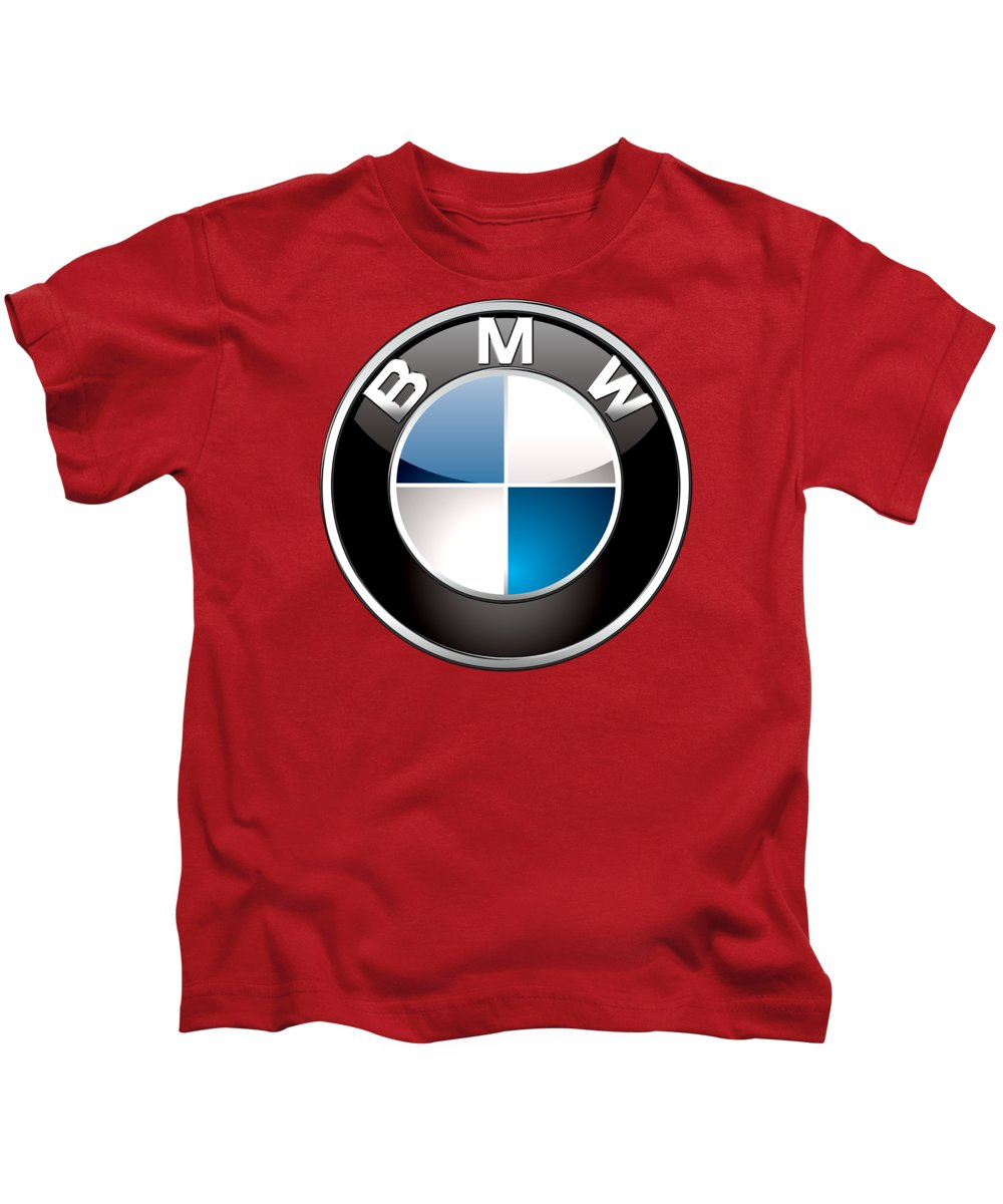'auto Badges 3d' By Serge Averbukh Kids T-Shirt featuring the photograph B M W Badge On Red by Serge Averbukh
