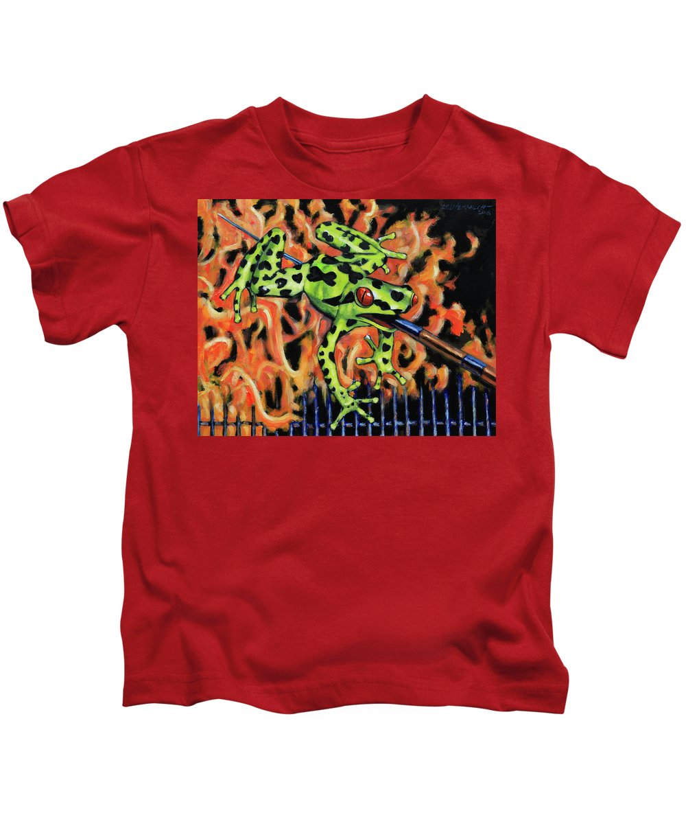 Frog Kids T-Shirt featuring the painting Bad Froggy In Hell by John Lautermilch