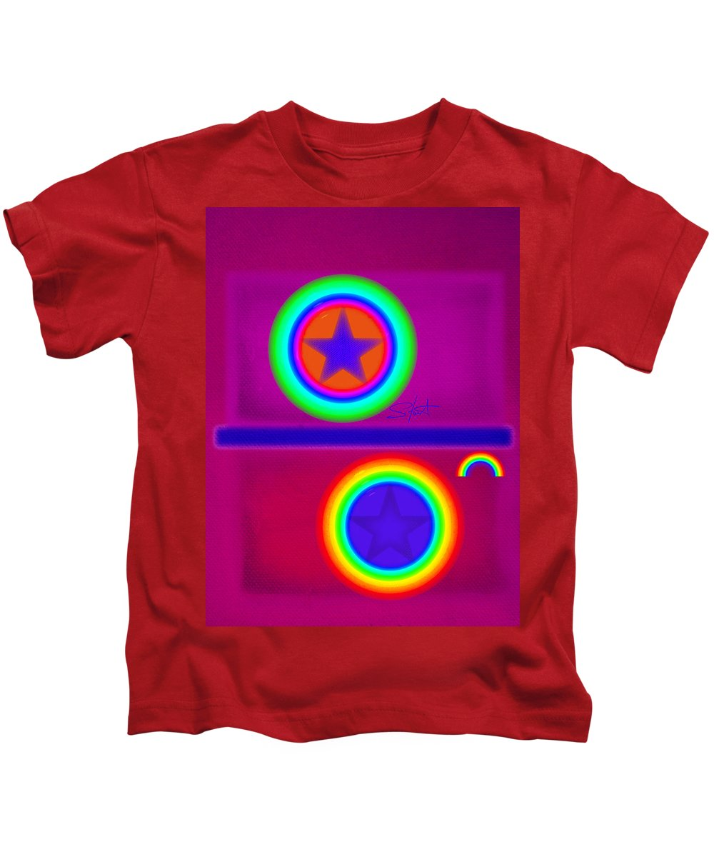 Balance Kids T-Shirt featuring the painting Balance Of Power by Charles Stuart