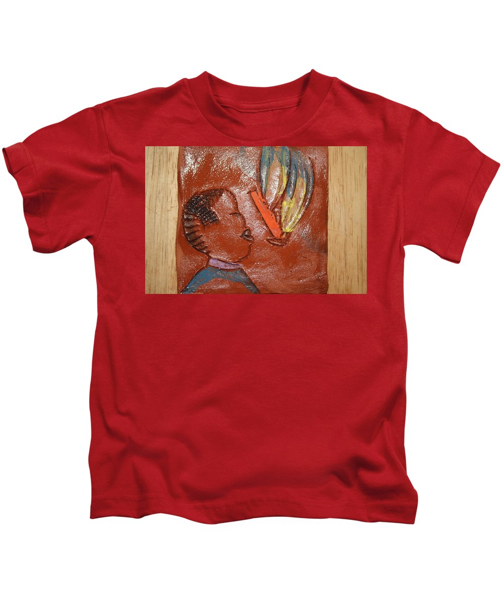Jesus Kids T-Shirt featuring the ceramic art Barber Day - Tile by Gloria Ssali