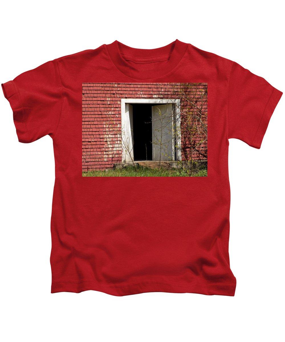 Barn Kids T-Shirt featuring the photograph Barn Door And Cedar by William Tasker