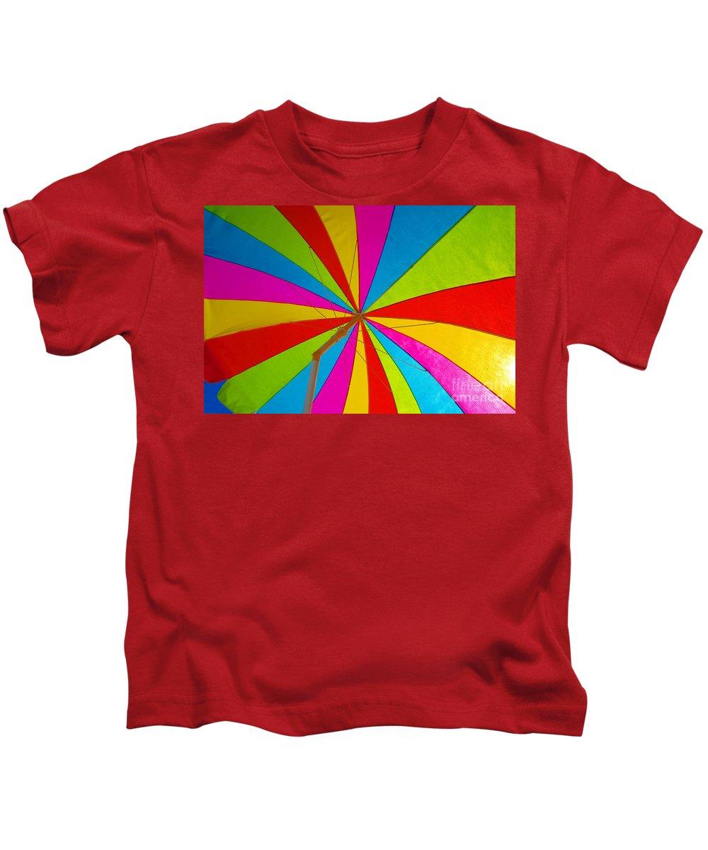 Beach Kids T-Shirt featuring the photograph Beach Umbrella by David Lee Thompson